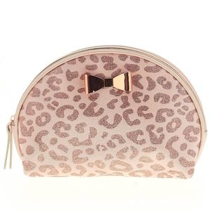 New Ulta Metallic Pink Leopard Print Clutch W/Bow